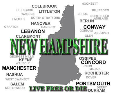 New Hampshire State Pride Map Silhouette  Poster by Keith Webber Jr