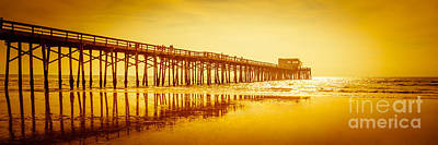 Newport Beach Pier Sunset Panorama Photo Poster by Paul Velgos