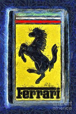 Painting Of Ferrari Badge Poster by George Atsametakis