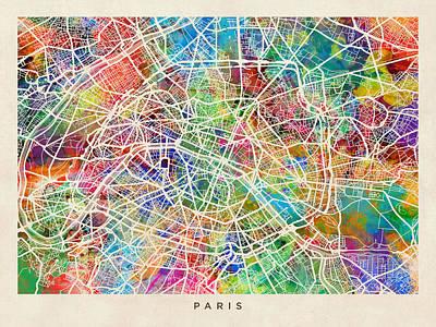 Paris France Street Map Poster by Michael Tompsett