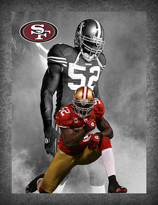 Patrick Willis 49ers Poster by Joe Hamilton