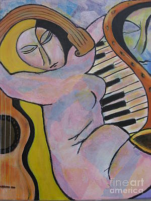 Pianos And Guitars Poster by Chaline Ouellet