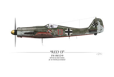 Red 13 Focke-wulf Fw 190d - White Background Poster by Craig Tinder
