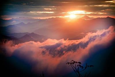 Red Sunset Himalayas Mountain Nepal Poster by Raimond Klavins