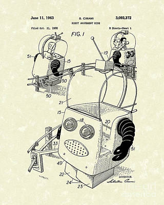Robot Ride 1963 Patent Art Poster by Prior Art Design