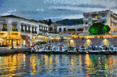 Spetses Town During Dusk Time Poster by George Atsametakis
