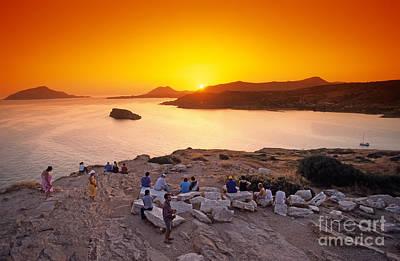 Sunset At Poseidon Temple Poster by George Atsametakis