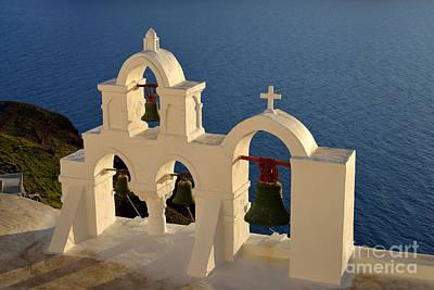 Sunset Behind A Belfry In Santorini Island Poster by George Atsametakis