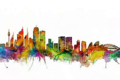 Sydney Australia Skyline Poster by Michael Tompsett