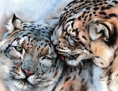 Unconditionally Snow Leopards Poster by Christine Karron