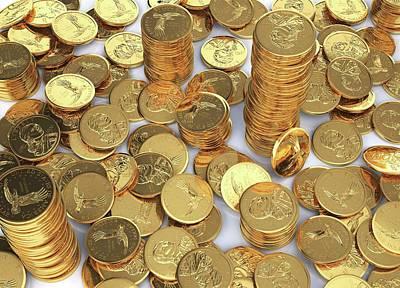 Us Dollar Coins Poster by Leonello Calvetti