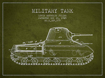 Vintage Military Tank Patent From 1945 Poster by Aged Pixel