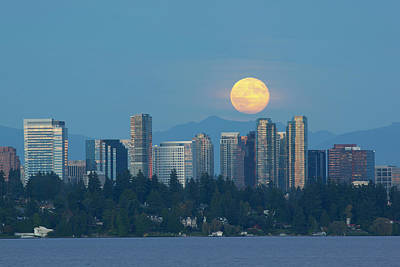 Wa, Bellevue, Full Moon Raising Poster by Jamie and Judy Wild