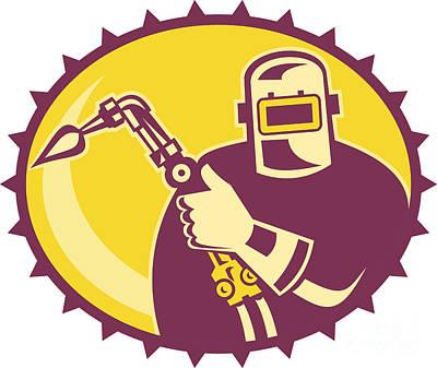 Welder Worker Welding Torch Retro Poster by Aloysius Patrimonio
