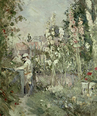 Young Boy In The Hollyhocks Poster by Berthe Morisot