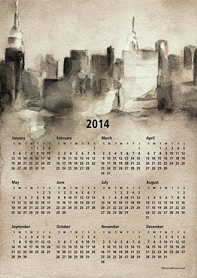 2014 Calendar - New York Skyline Poster by Beverly Brown Prints