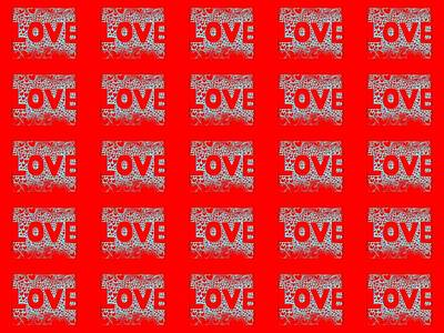 25 Affirmations Of Love In Red Poster by Helena Tiainen