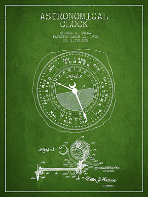 Astronomical Clock Patent From 1930 Poster by Aged Pixel