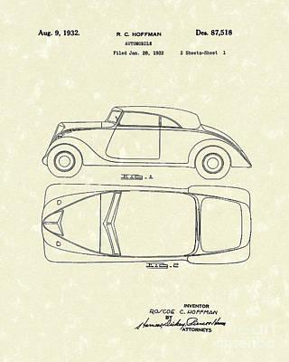 Automobile 1932 Patent Art Poster by Prior Art Design