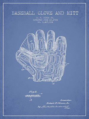 Baseball Glove Patent Drawing From 1924 Poster by Aged Pixel