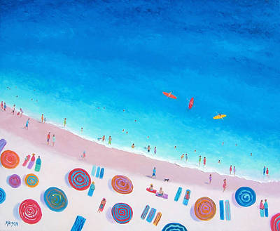 Beach Umbrellas Poster by Jan Matson