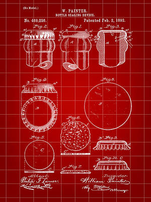 Bottle Cap Patent 1892 - Red Poster by Stephen Younts