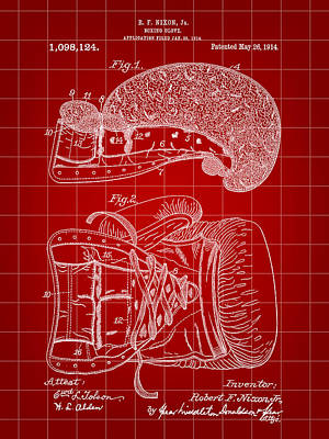 Boxing Glove Patent 1914 - Red Poster by Stephen Younts