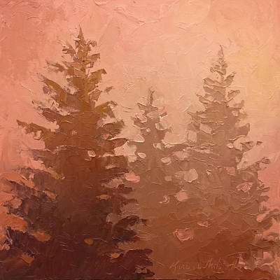3 Cedars In The Fog No. 1 Poster by Karen Whitworth