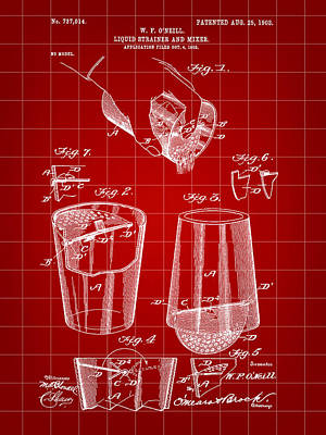 Cocktail Mixer And Strainer Patent 1902 - Red Poster by Stephen Younts