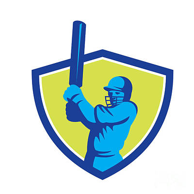 Cricket Player Batsman Batting Shield Retro Poster by Aloysius Patrimonio