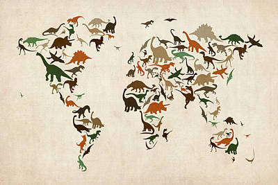 Dinosaur Map Of The World Map Poster by Michael Tompsett