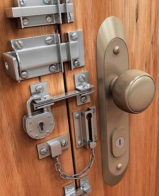 Door With Various Locks Poster by Ktsdesign