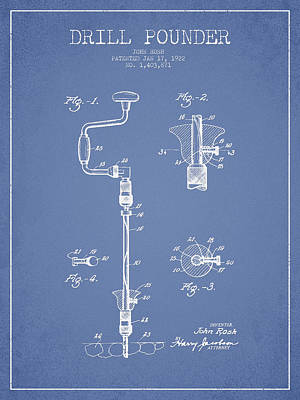 Drill Pounder Patent Drawing From 1922 Poster by Aged Pixel