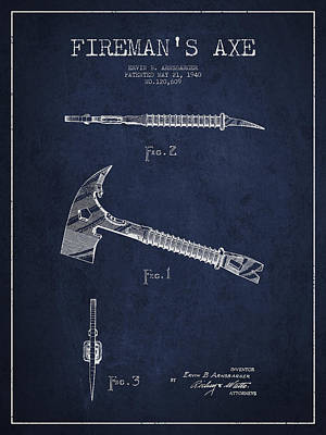 Fireman Axe Patent Drawing From 1940 Poster by Aged Pixel