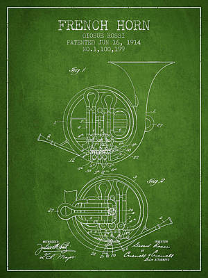 French Horn Patent From 1914 - Green Poster by Aged Pixel