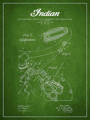 Indian Motorcycle Patent From 1904 - Green Poster by Aged Pixel