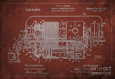 Internal Combustion Engine Patent - 1917 Poster by Pablo Franchi