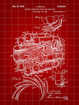 Jet Engine Patent 1941 - Red Poster by Stephen Younts