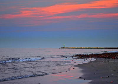 Lighthouse Sunset Poster by Frozen in Time Fine Art Photography