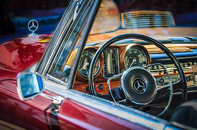 Mercedes-benz 250 Se Steering Wheel Emblem Poster by Jill Reger