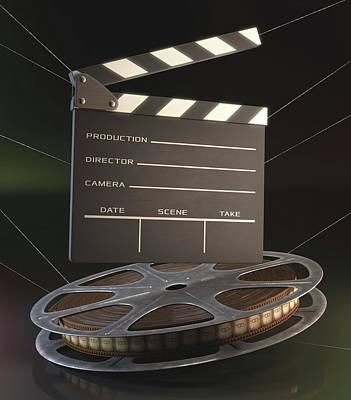 Movie Reel And Clapperboard Poster by Ktsdesign