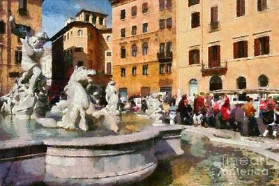 Piazza Navona In Rome Poster by George Atsametakis