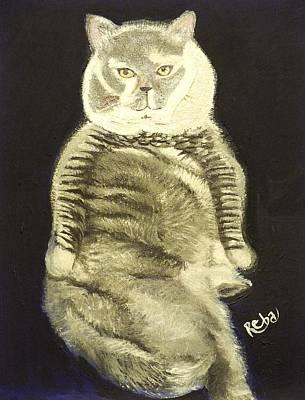Portrait Of A Fat Cat Poster by Reba Baptist
