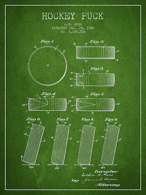 Roll Prevention Hockey Puck Patent Drawing From 1940 Poster by Aged Pixel