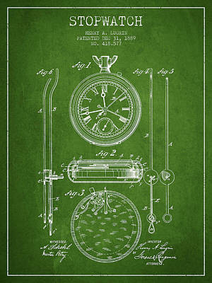 Stopwatch Patent Drawing From 1889 Poster by Aged Pixel