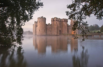 Stunning Moat And Castle In Autumn Fall Sunrise With Mist Over M Poster by Matthew Gibson