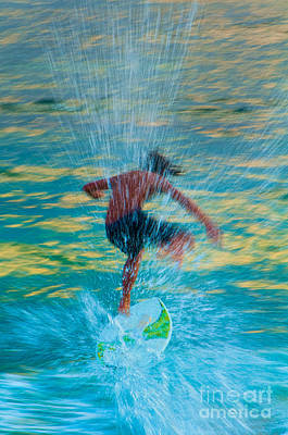 Teenage Boy Skimboarding On Maui Hawaii Poster by Don Landwehrle
