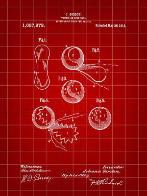Tennis Ball Patent 1914 - Red Poster by Stephen Younts