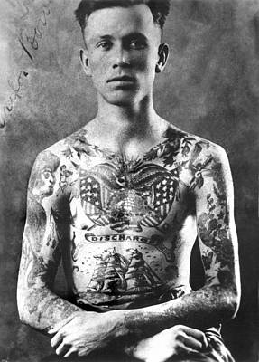 Vintage Tattoo Photograph And Flash Art Poster by Larry Mora