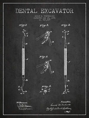 Vintage Dental Excavator Patent Drawing From 1896 - Dark Poster by Aged Pixel
